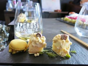 La Ferreye - Cadillac 2010 & witte chocolademousse met gember, wasabi en macaron van yuzu